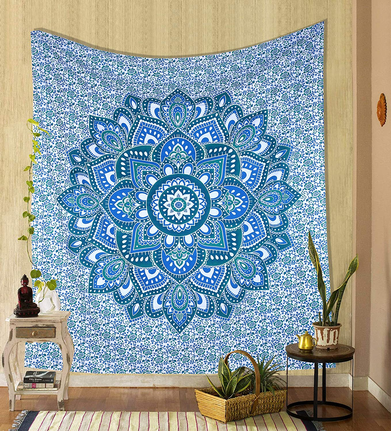 Wall Hanging Boho Tapestry Indian Handmade Floral Ombre Throw Mandala Cotton