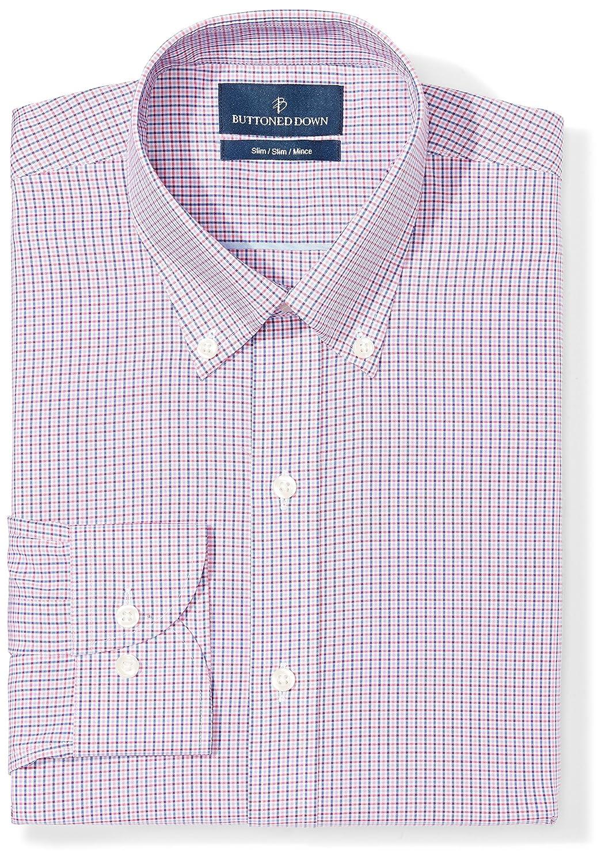 Buttoned Down Men's Slim Fit Check Non-Iron Dress Shirt