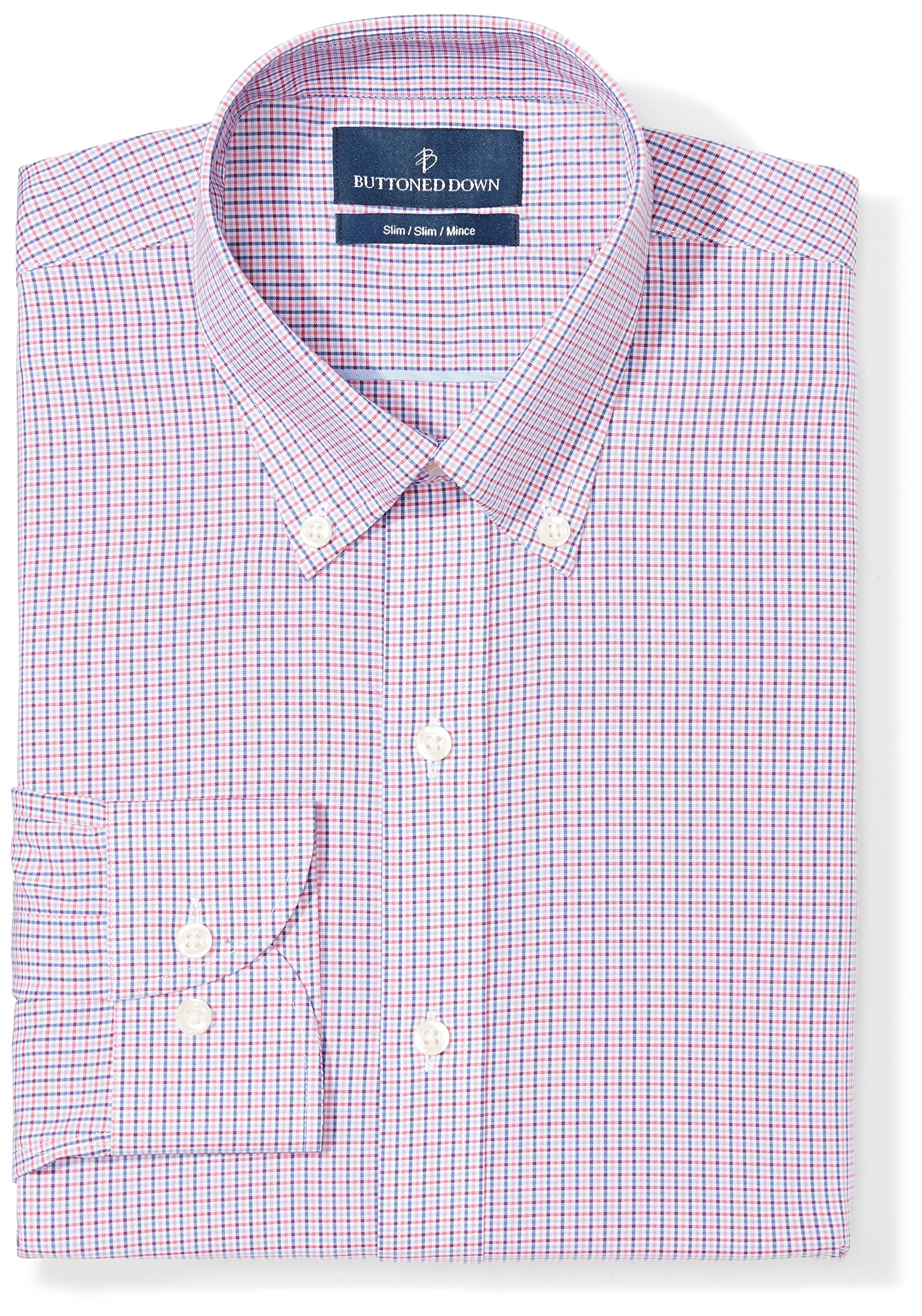 Buttoned Down Men's Slim Fit Button-Collar Pattern Non-Iron Dress Shirt, Berry/Red/Navy Small Tatersol, 16'' Neck 37'' Sleeve by Buttoned Down
