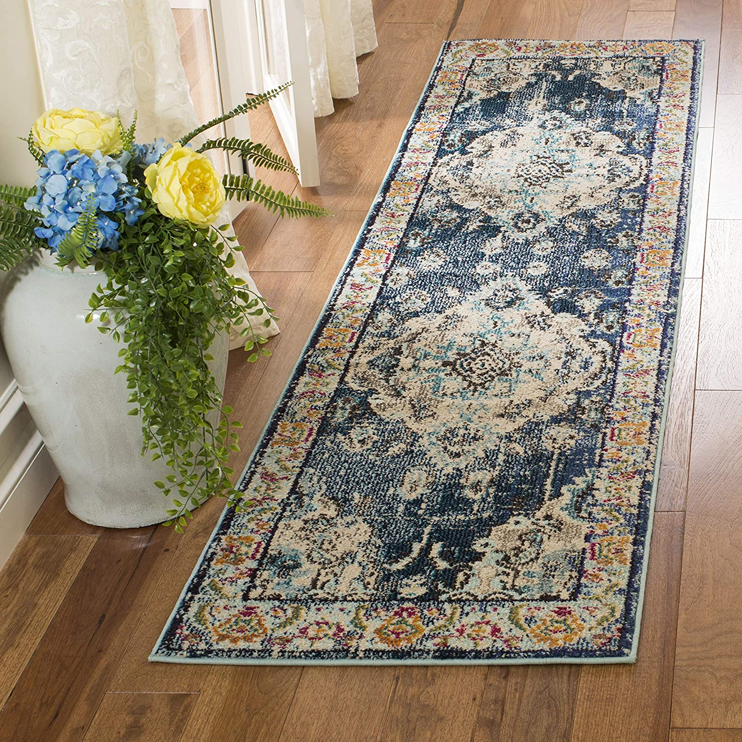 Navy Light bluee 2'2  x 6' Safavieh Monaco Collection MNC243G Vintage Oriental Grey and Light bluee Distressed Runner (2'2  x 12')