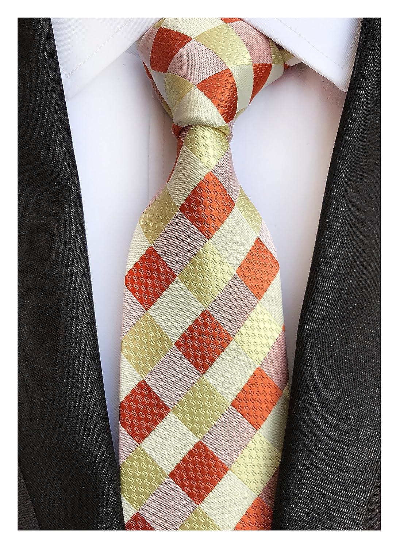 3b75ab9c40c2 Elfeves Men Modern Tartan Formal Ties Checks Plaid Gingham Pattern ...