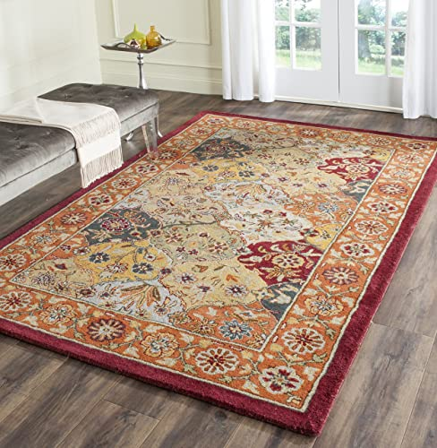 Safavieh Heritage Collection HG510B Handcrafted Traditional Oriental Multi and Red Wool Area Rug 7'6″ x 9'6″