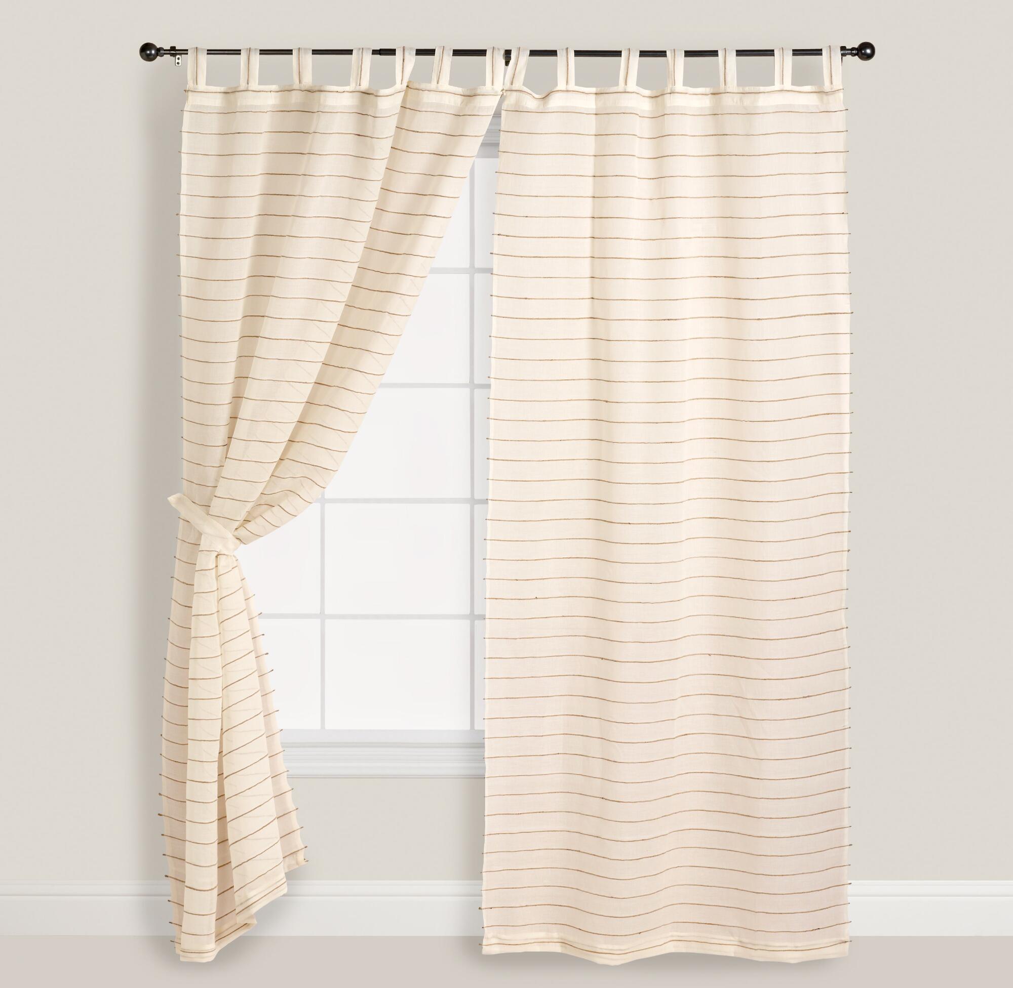 Ivory Striped Sahaj Jute Curtains, Set of 2 | World Market