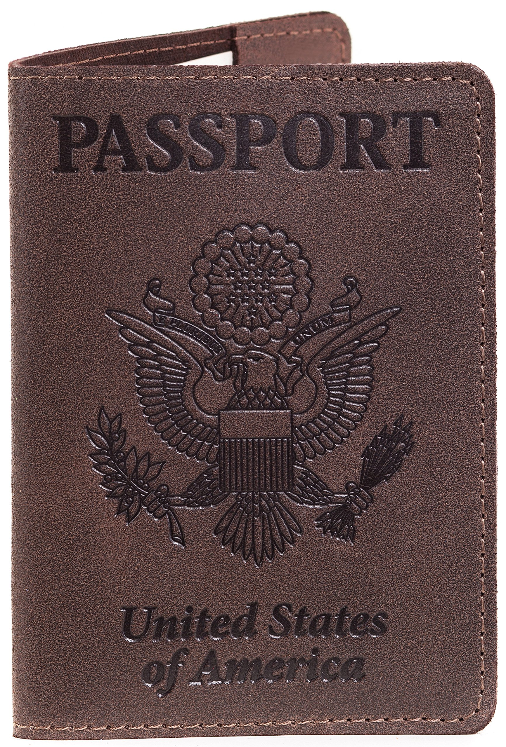 Leather Passport Cover - Passport Holder (Brown chocolate) by Gmakin