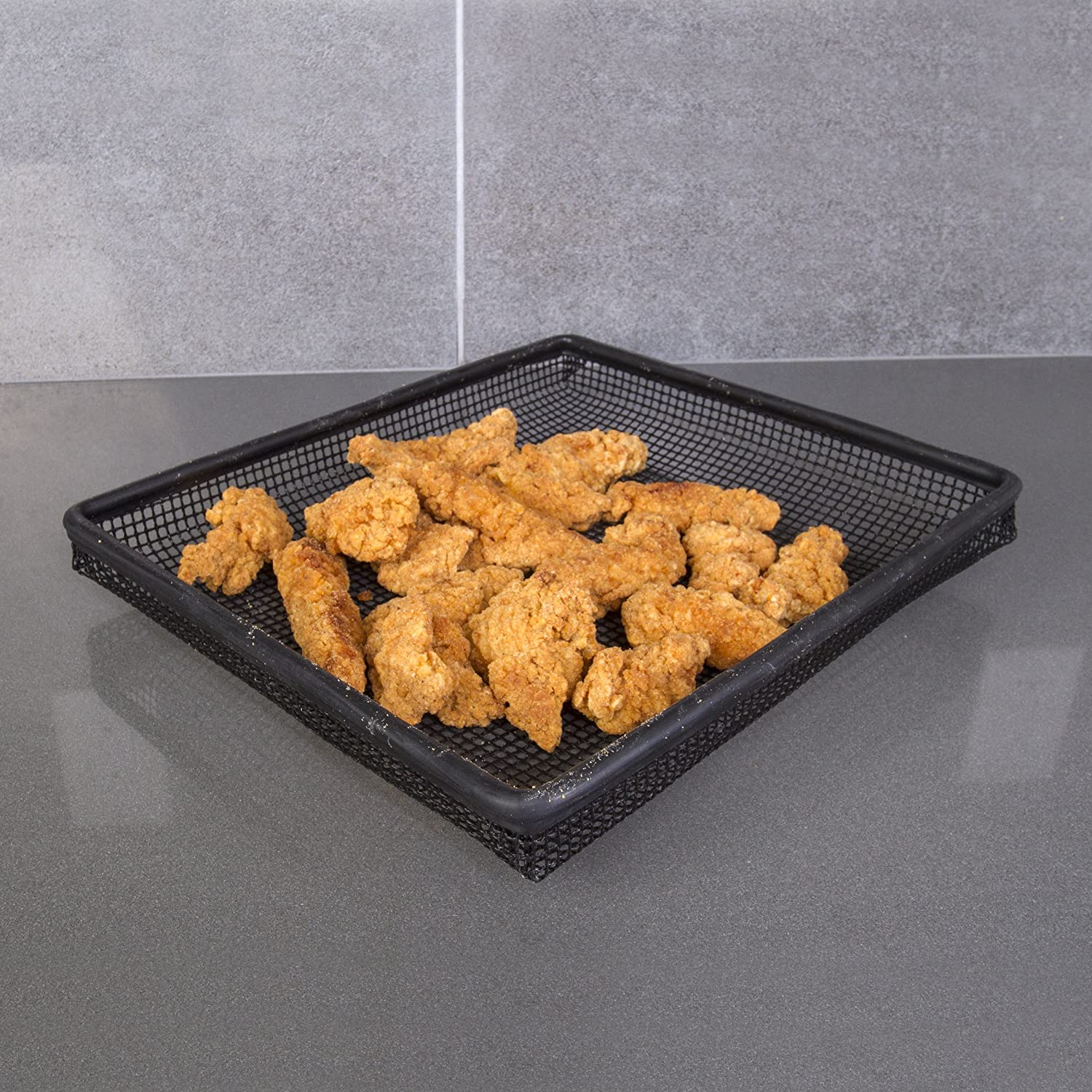 Dishwasher and Freezer Safe SC Chang KH-133 Tater Tots and More Without Butter or Oil Home Oven Crisper Trays Kitchen Chicken Tenders Perfectly Crisp Fries Set of 2 Non-stick Mesh Crisper Trays