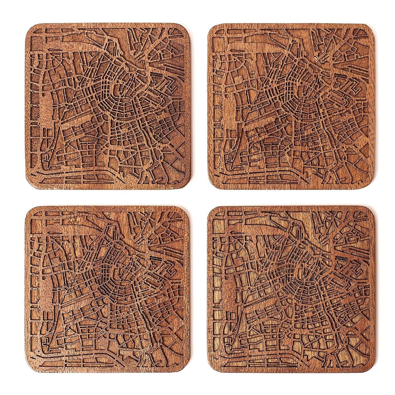 Amazon.com | Amsterdam Map Coaster by O3 Design Studio, Set Of 4 ...