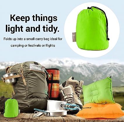BRAMBLE! Almohada Auto Inflable de un Material Suave, Fiesta, Camping, Acampar, Senderismo. La Mejor Almohada para Viajes - Verde: Amazon.es: Deportes y ...