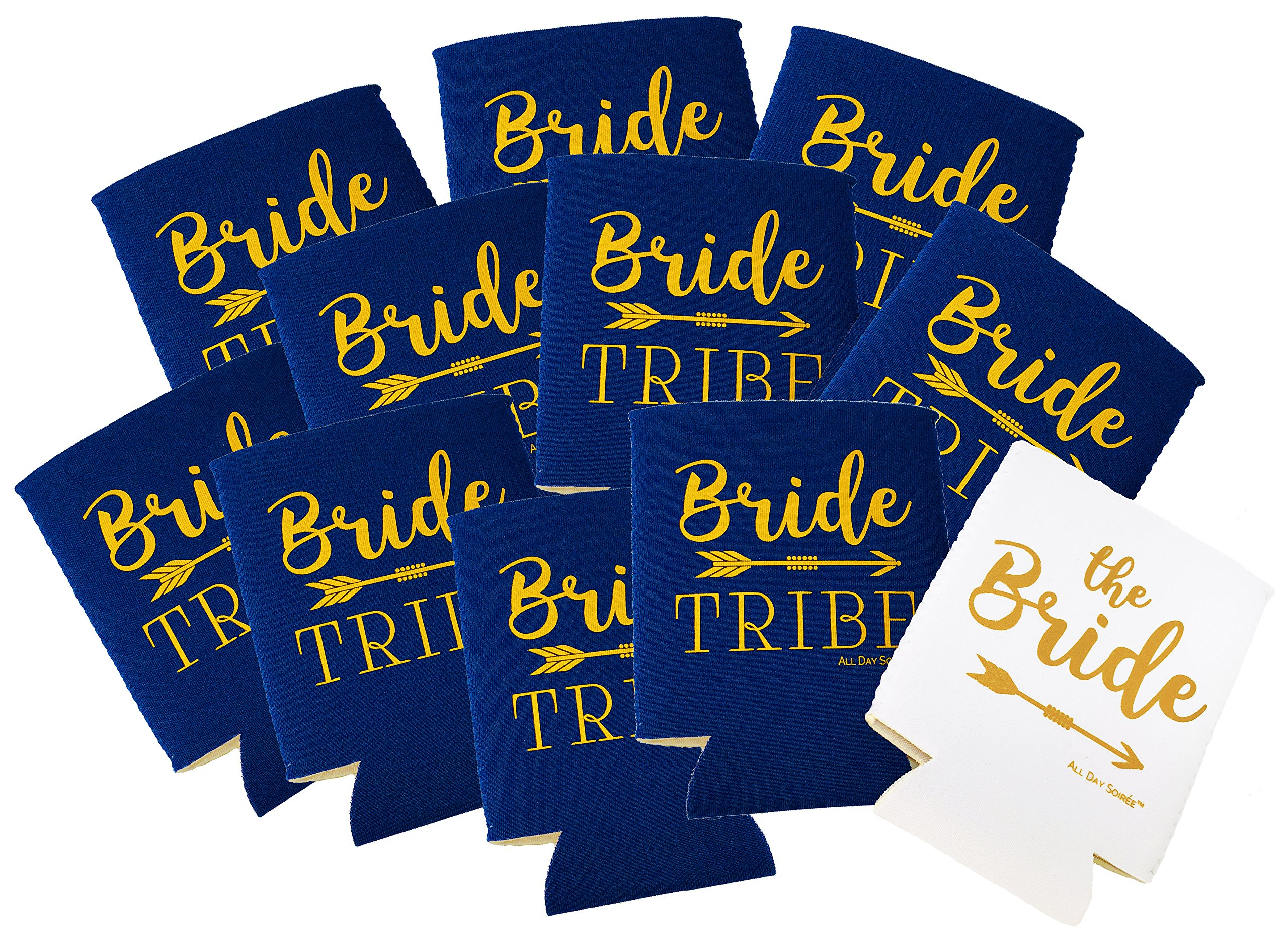 Bride Tribe 11 Pack Bachelorette Party Favor Can Coolers Plus Bonus Photo Game | 10 Navy Blue, 1 White Bride, Gold Ink | Decorations, Supplies, Gifts