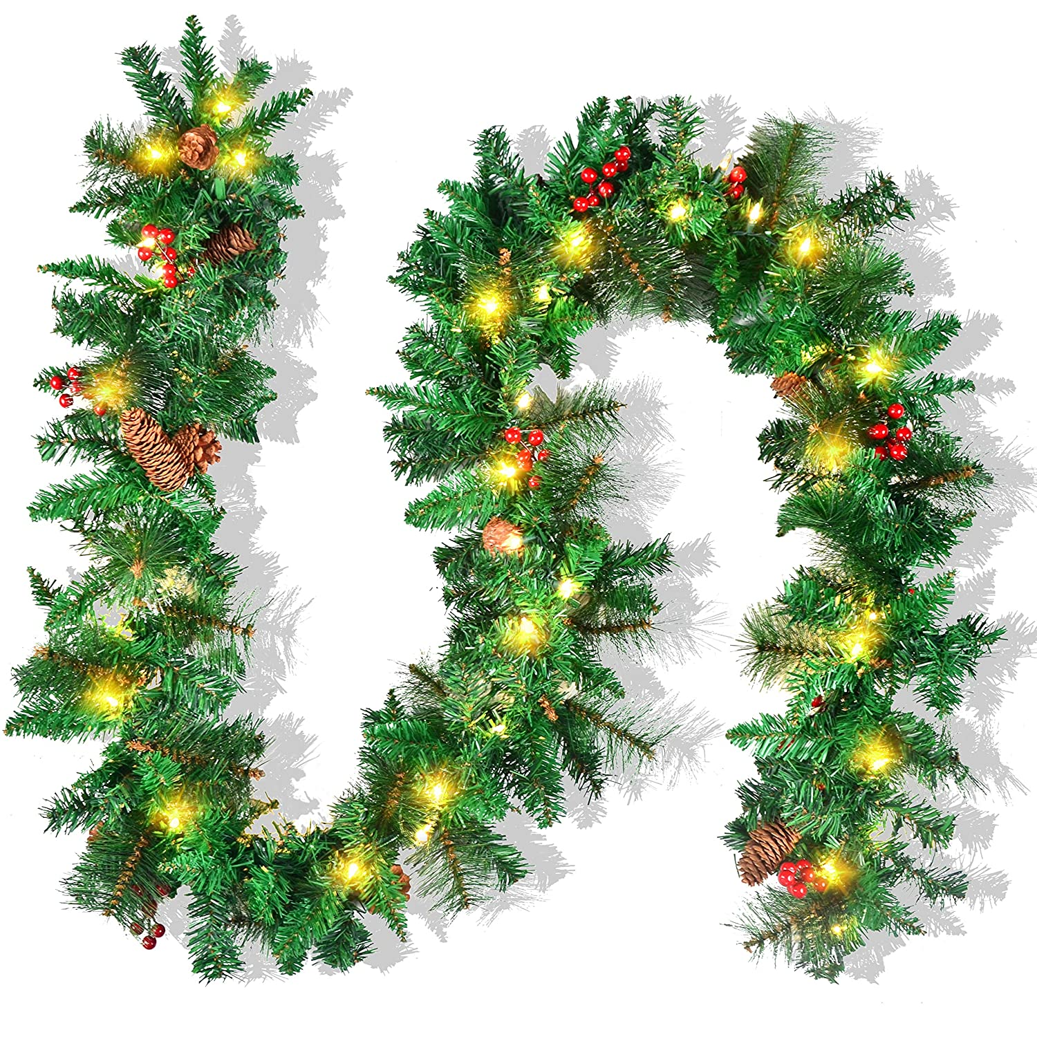 Joyin Premium 9 Foot By 10 Inch Artificial Christmas Garland Prelit With 50 Lights And Silver Bristle Pine Cones Red Berries