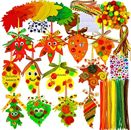 48 Sets Fall Leaf Ornaments Decorations DIY Hanging Fall Leaf Craft Kit Assorted Foam Autumn Leaf Shapes with Pom-Poms Pipe cleaners Googly Eyes for Kids Crafts Fall Thanksgiving Halloween Decoration