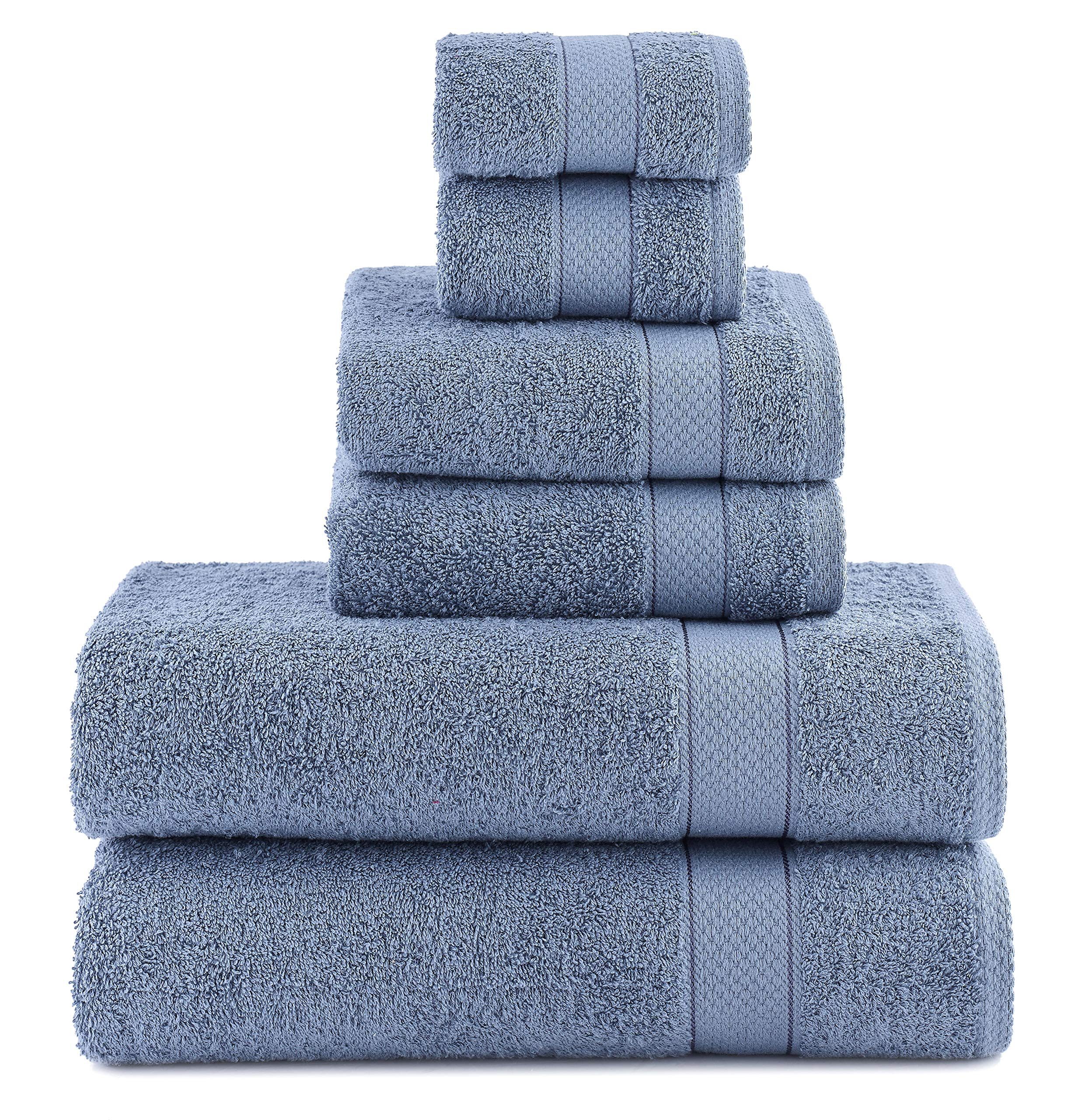ixirhome Turkish Towel Set 6 Piece,100% Cotton, 2 Bath Towels, 2 Hand Towels 2 Washcloths, Machine Washable, Hotel Quality, Super Soft Highly Absorbent (MARINE BLUE)