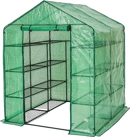 Tectake Serre De Jardin Pe Plastique Tente Abri Diverses Modeles 143x143x195cm No 401860 Amazon Fr Jardin