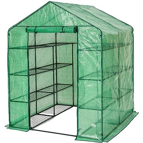 TecTake Invernadero de jardín vivero casero plantas cultivos - varios modelos - (143x143x195cm   No