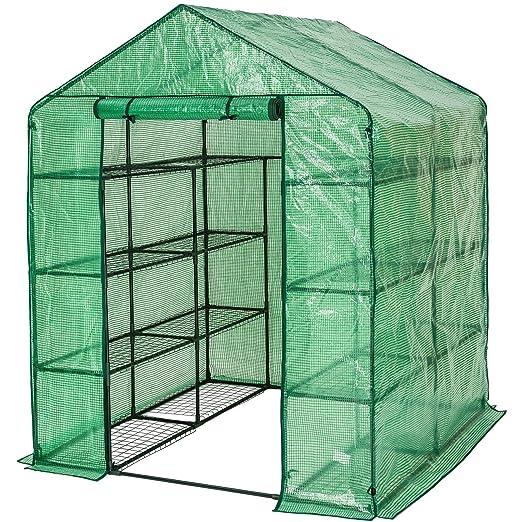 17 opinioni per TecTake Serra da giardino in acciaio e PVC per piante con scaffali 143x143x195cm