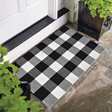 Cotton Bath Runner Buffalo Check Rug Black and White Plaid Runner Doormat Hand-Woven Checkered Carpet forDoorway/Kitchen/Bathroom/Entry Way/Laundry Room/Bedroom (24  x35 , B Black and White)