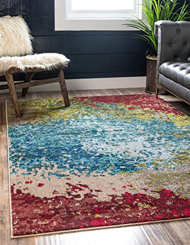 Unique Loom Estrella Collection Colorful Abstract Blue Area Rug 10 6 x 16 5