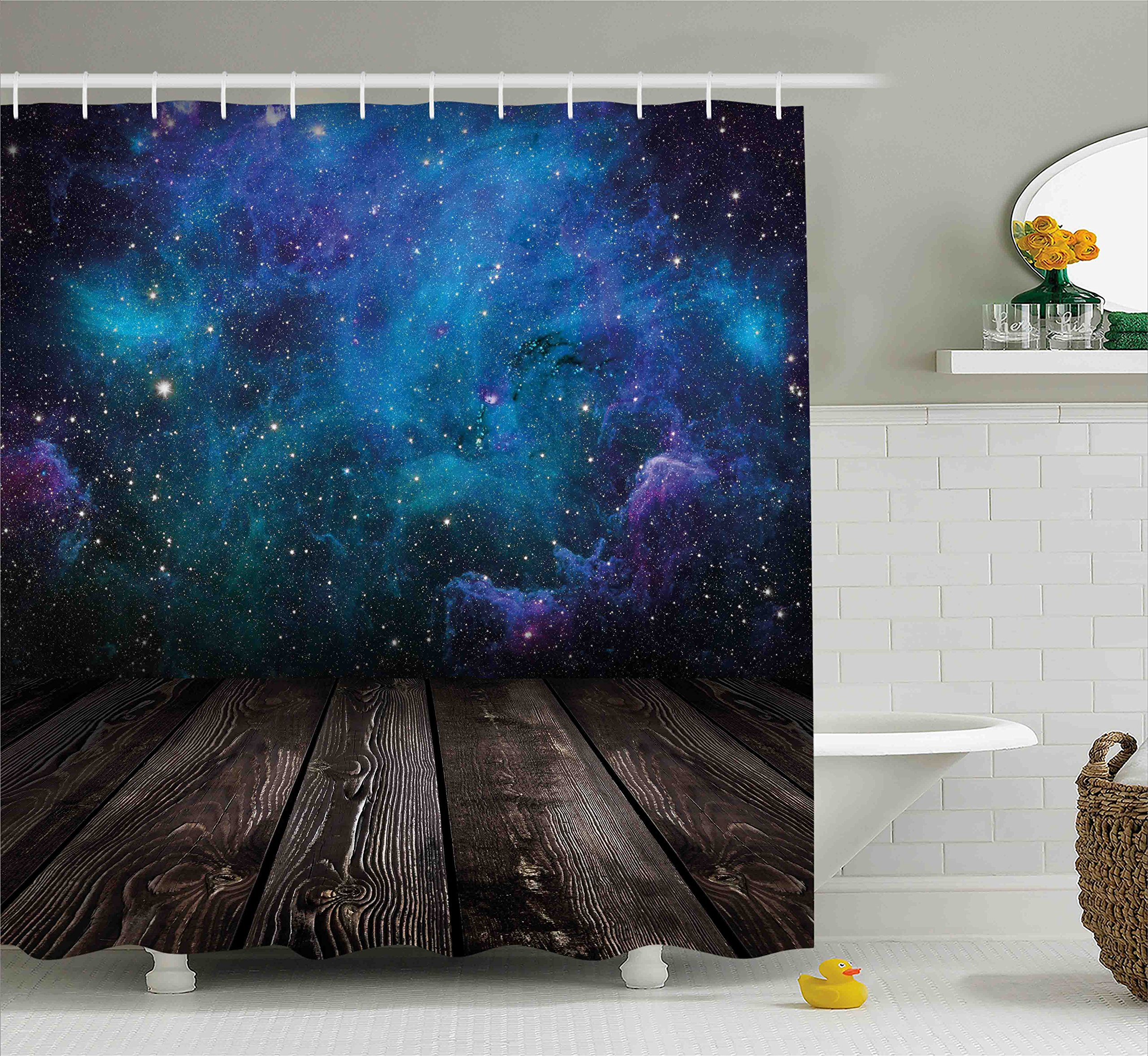 Ambesonne Galaxy Shower Curtain, Outer Space View from Rustic Wooden Deck of Blue Nebula Stars Magical Night Image, Fabric Bathroom Decor with Hooks, 75 inches Long, Black Blue Brown Purple