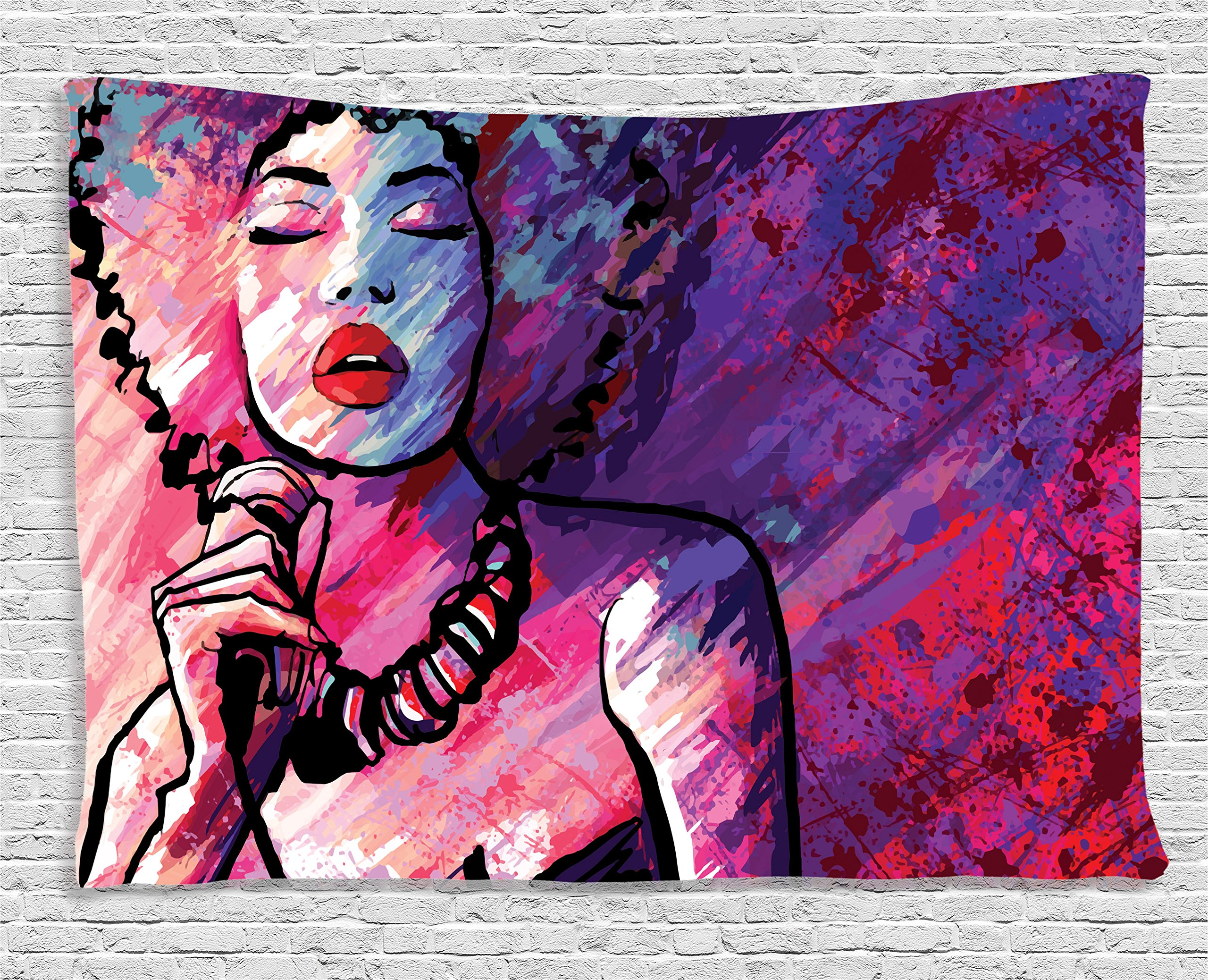 Ambesonne Grunge Home Decor Collection, Jazz Singer Performing with Microphone on Grunge Background Illustration Print, Bedroom Living Room Dorm Wall Hanging Tapestry, 80 X 60 Inches, Purple Pink