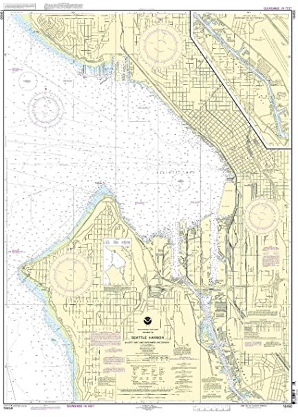 Amazon.com : 18450--Seattle Harbor, Elliot Bay and Duwanish ...