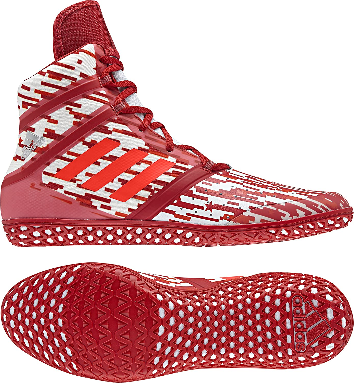 adidas Impact Men's Wrestling Shoes, Red Digital Print, Size 6.5