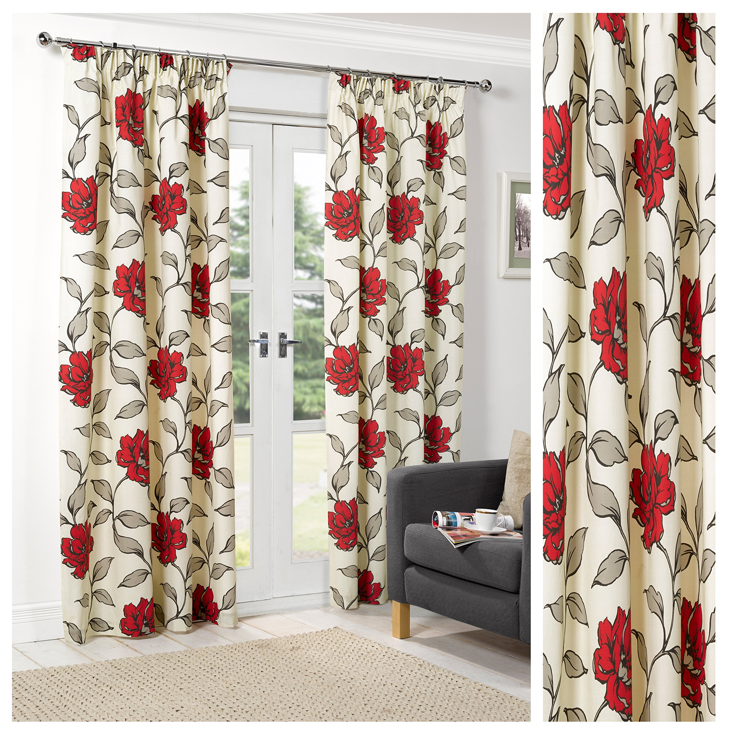 Floral Red Lightweight Pencil Pleat Tape Top Polyester Lined Readymade Curtain Pair 66x72in167x182cm