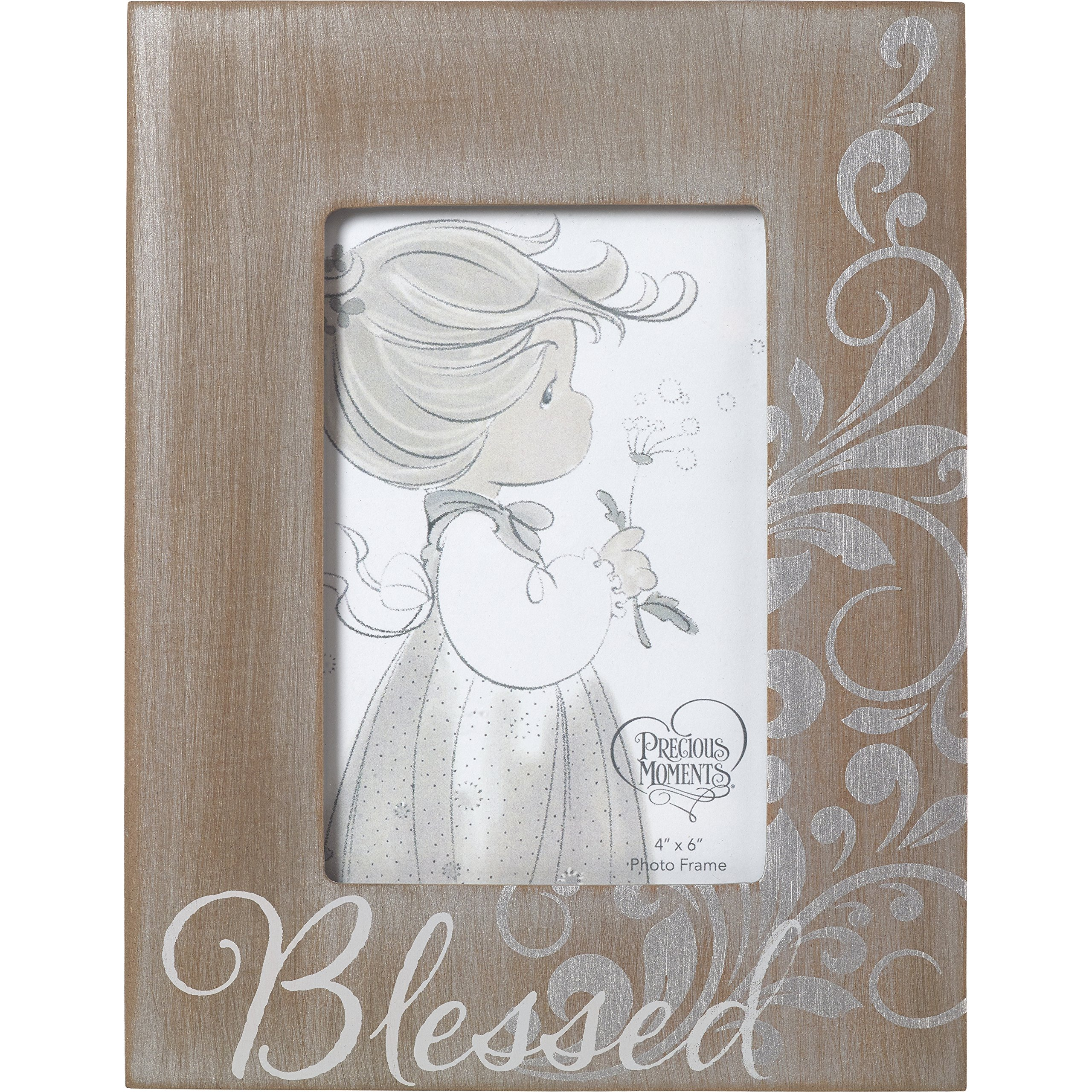 Precious Moments Blessed Rustic Farmhouse Distsressed 4x6 Wood-Like Photo Frame Home Décor 173406