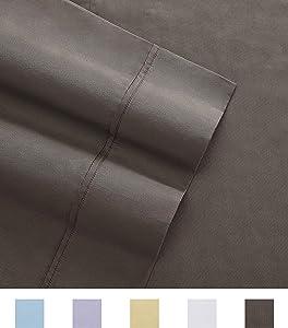 Columbia Organic Cotton Sateen Weave Performance Sheet Set – 300TC with Omni-Wick Moisture Wicking Stay Dry Technology - 100% GOTS Certified Organic Cotton – Cal King 4-Piece Sheet Set, Stratus Grey