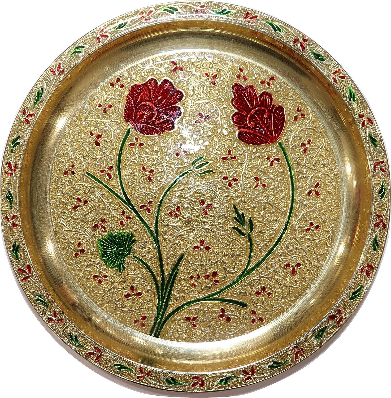 Indian Plate for PUJA Brass PUJA THALI Set Prayer Plate Reliable Pooja THALI MEENAKARI Daily USE PUJA THALI of Brass PUJA THALI for DIETY