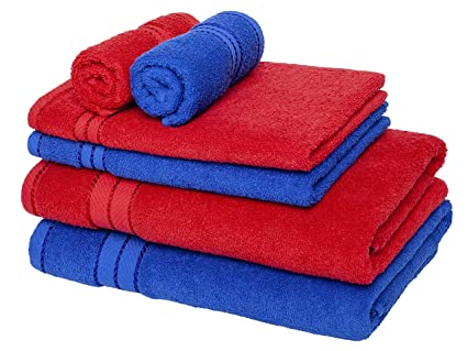 Homely 100% Cotton 6 Piece Towel Set, 2 Bath Towel 140 X 70 Cm, 2 Hand Towel 40 X 60 Cm, 2 Face Towel 30 X 30 Cm, 400 Gsm, Red And Blue