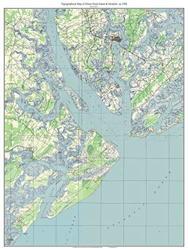Amazon.com: Hilton Head Island & Beaufort 1948 Old Topographic Map ...
