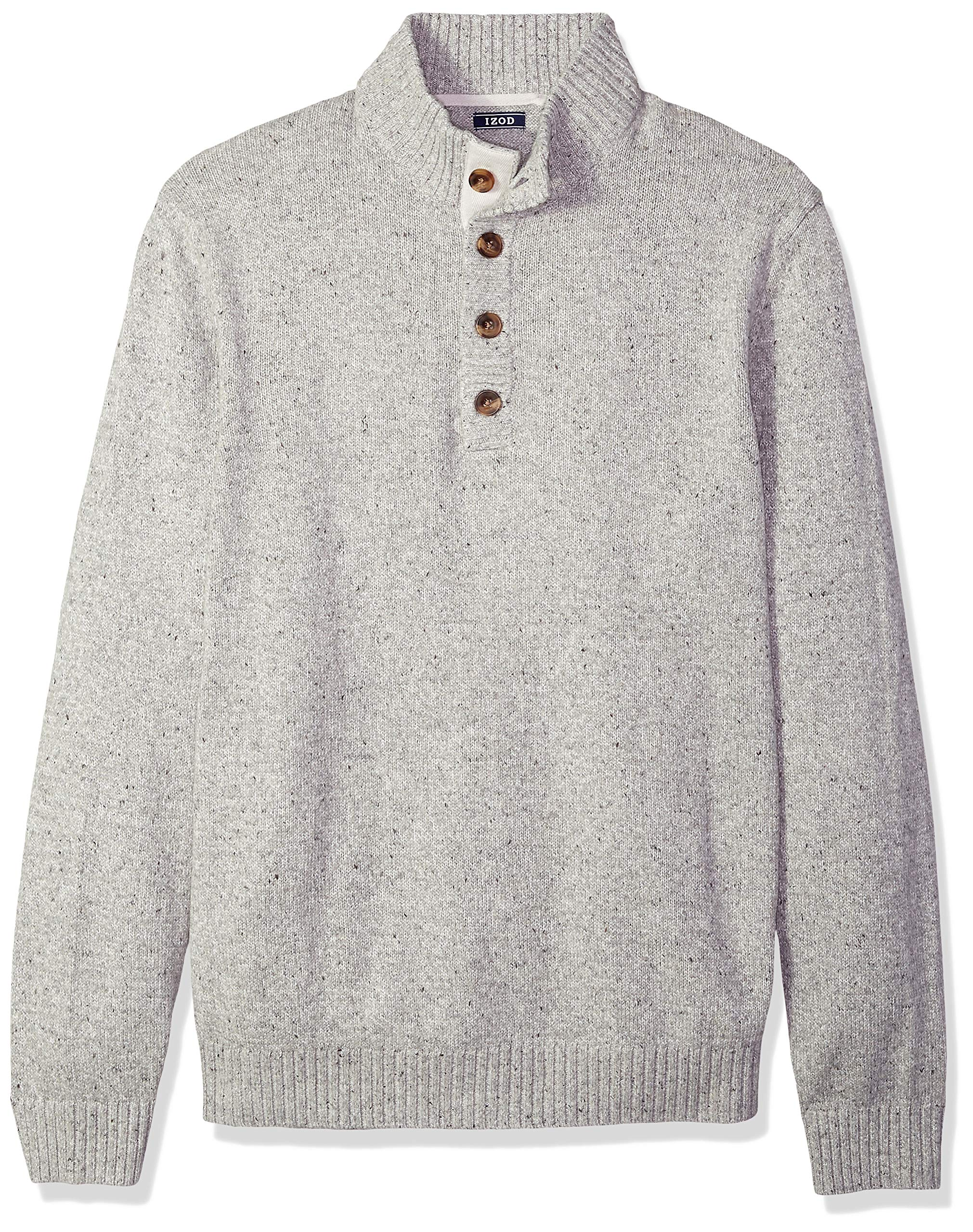IZOD Men's Big and Tall Buttoned Mock Neck Solid 7 Gauge Sweater, Edifice Heather, 4X-Large