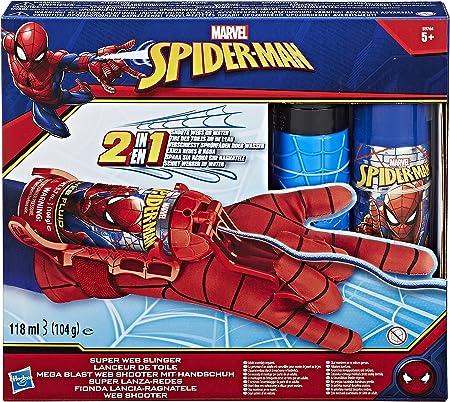 Dispara agua o líquido de tela Spidey.,El guante es de talla única y cuenta con diseño de Spiderman.