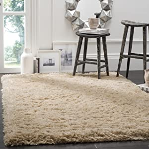 "Safavieh Polar Shag Collection PSG800A Light Beige Area Rug, 5'1"" x 7'6"""
