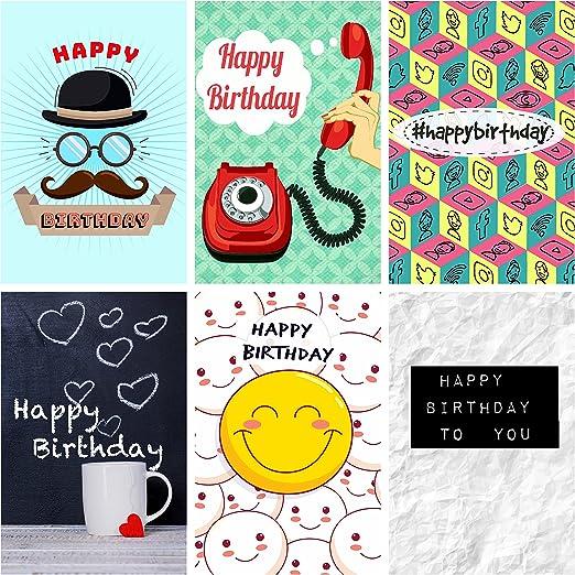 Greetingles - Pack de 12 tarjetas de cumpleaños, diseño moderno, incluye sobres (idioma español no garantizado), fabricado en el Reino Unido, nuevos diseños: Amazon.es: Hogar