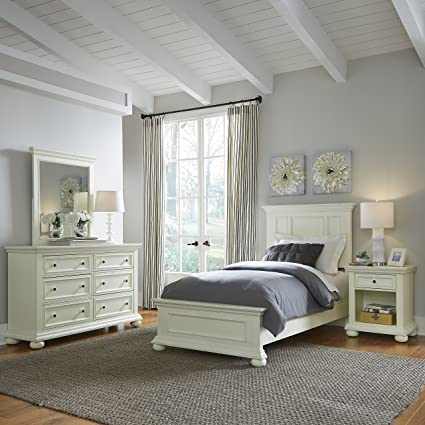 Home Styles 5427-4023 Dover Twin Bed with Nightstand and Dresser & Mirror  Antique White