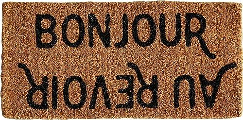 Creative Co-op Bonjour Au Revoir Natural Coir Doormat, 32 x 16