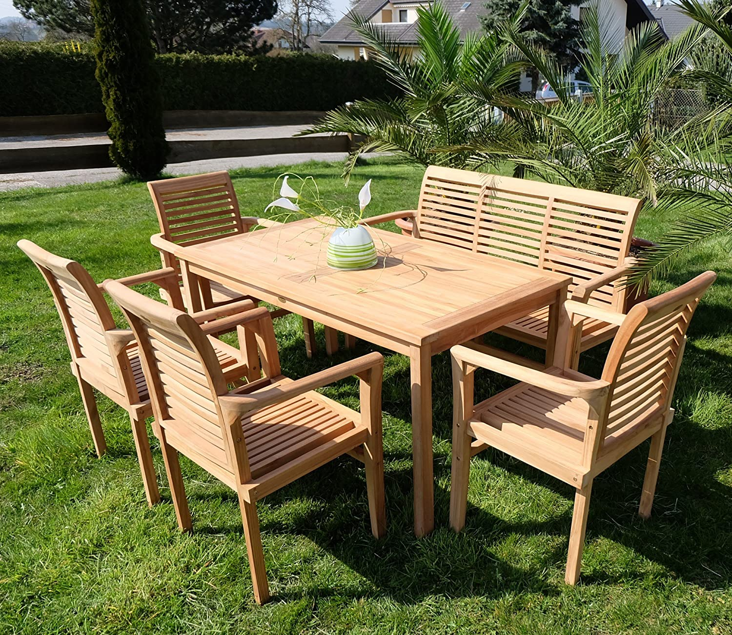 edle teak xxl gartengarnitur gartenset sitzgruppe gartenm bel tisch 1 bank 4 sessel 39 alpen. Black Bedroom Furniture Sets. Home Design Ideas