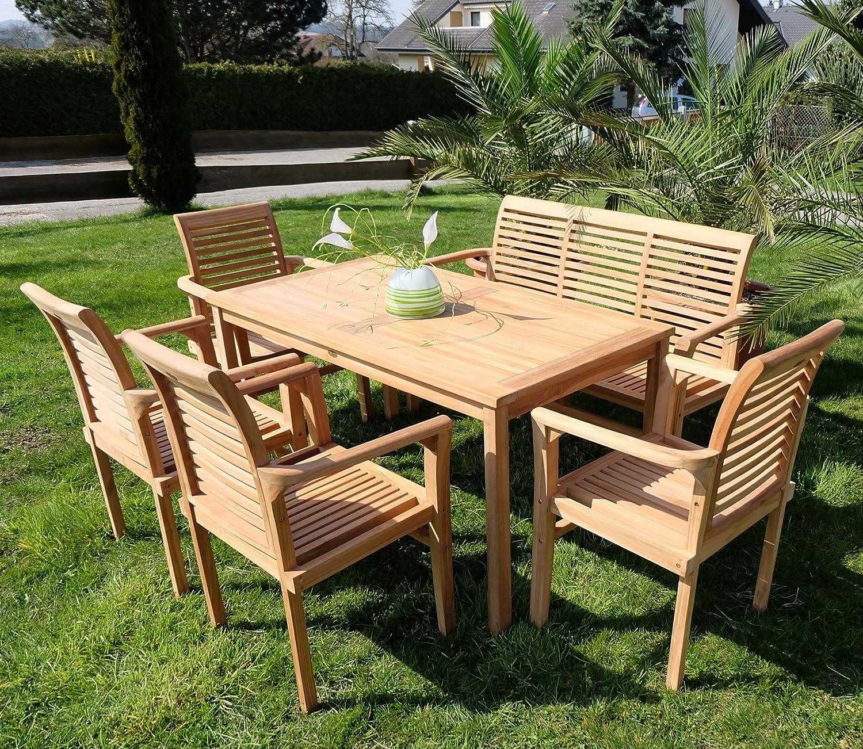 Edle TEAK XXL Gartengarnitur Gartenset Sitzgruppe Gartenmöbel TISCH + 1 Bank + 4 Sessel 'ALPEN' Holz geölt von AS-S