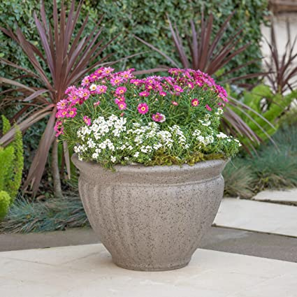 Great Deal Furniture Nicholson Outdoor Taupe Stone Finished Cast Stone  Planter