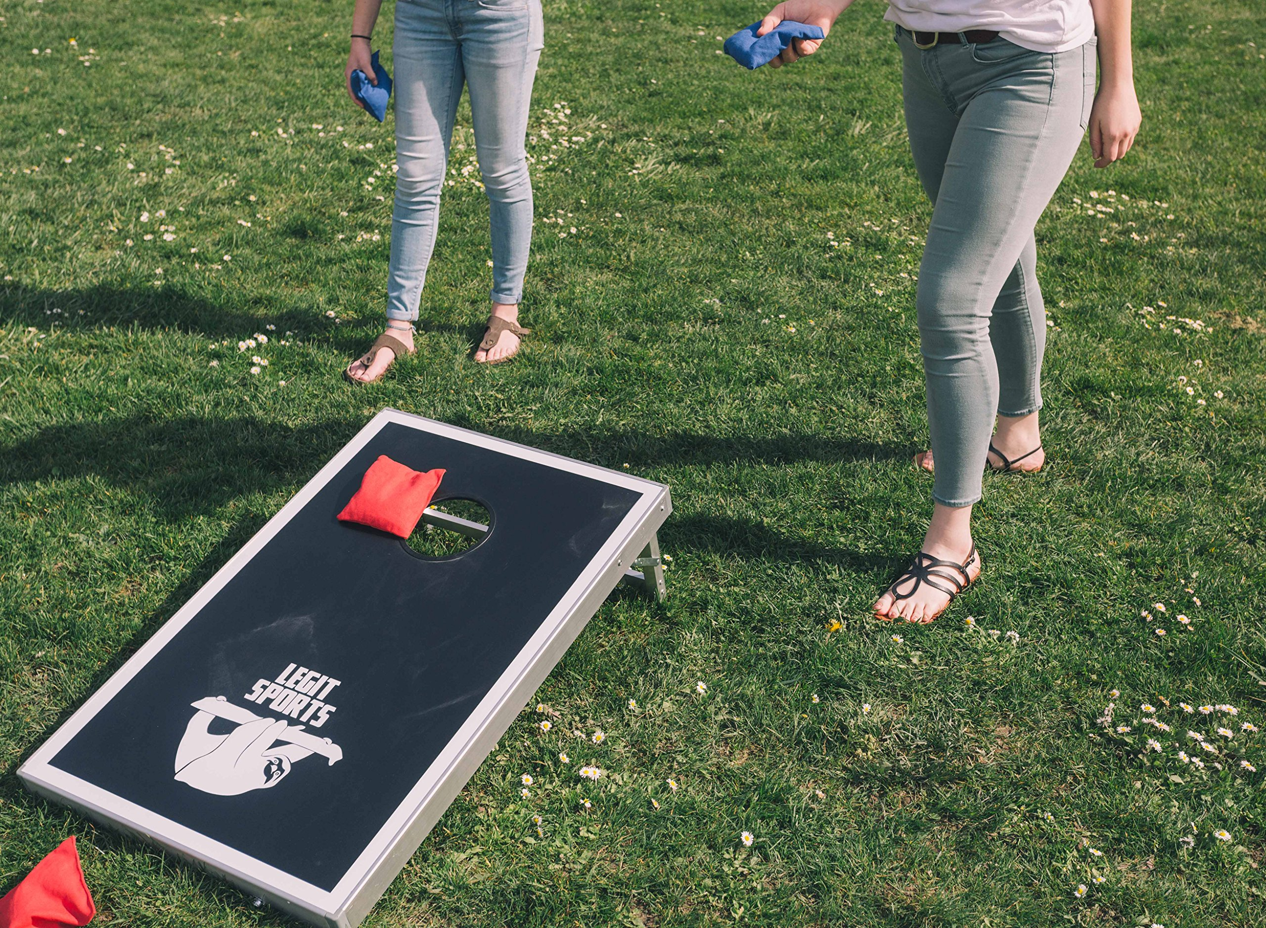 Cornhole Boards with Aluminum Frame by Legit Sports | Bean Bag Toss Corn Hole Outdoor Game with Weighted Bean Bags | Lightweight and Durable Materials | Great for Travel, Camping, Parties by Legit Camping (Image #4)