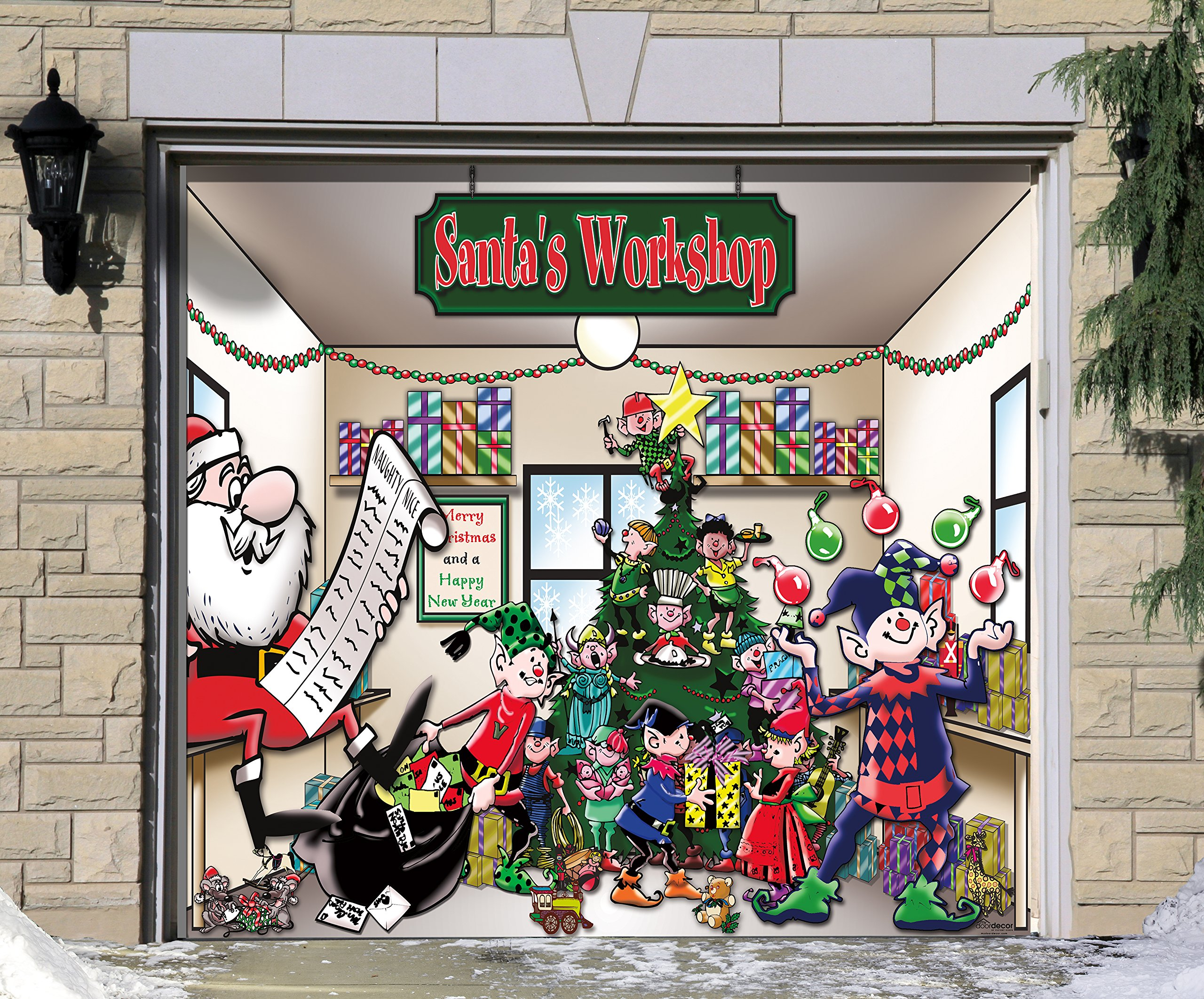 Outdoor Christmas Holiday Garage Door Banner Cover Mural Décoration - Santa's Workshop Holiday Garage Door Banner Décor Sign 7'x8' by Victory Corps