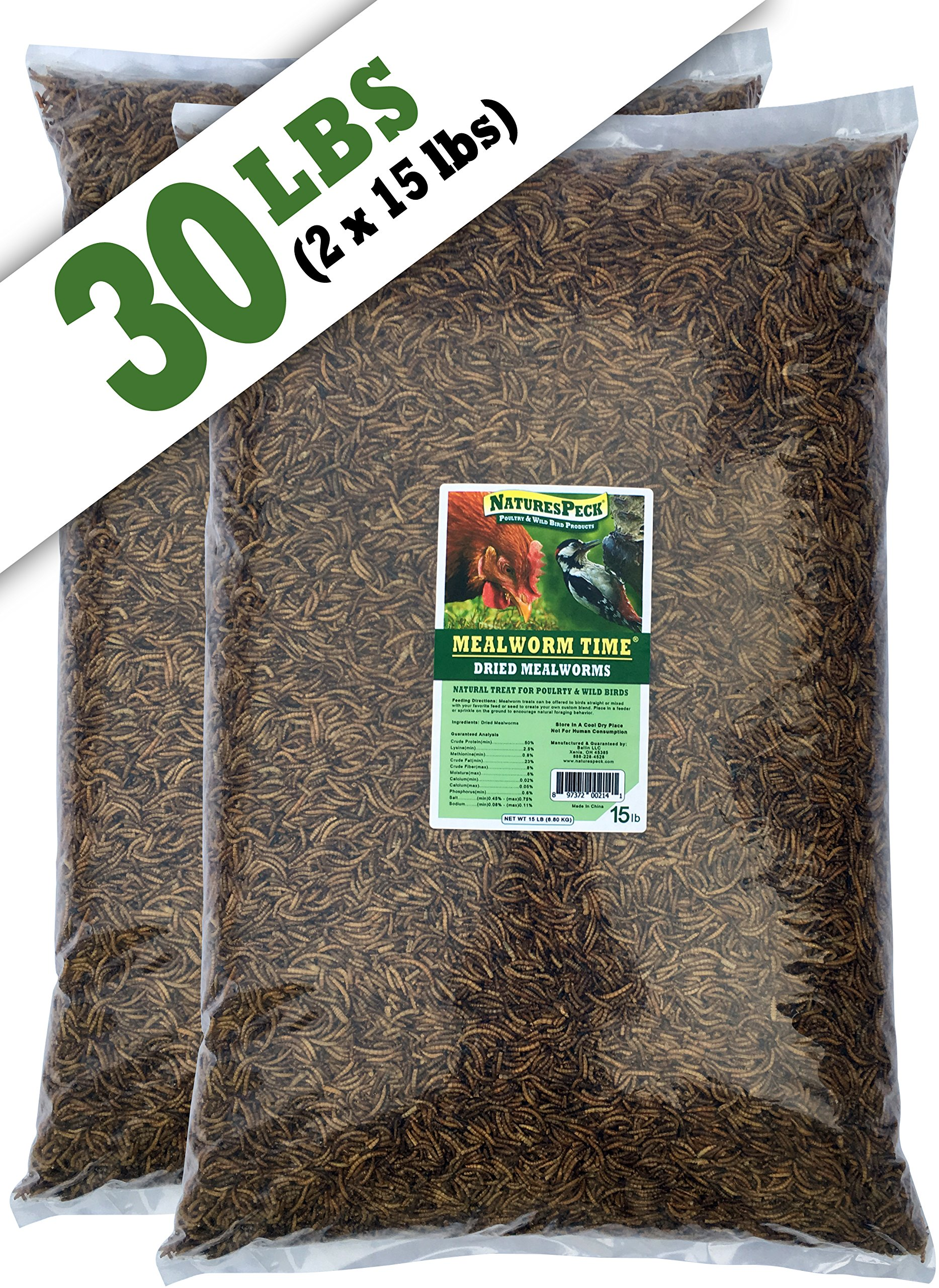 NaturesPeck Mealworm Time Dried Mealworms (30 lb)