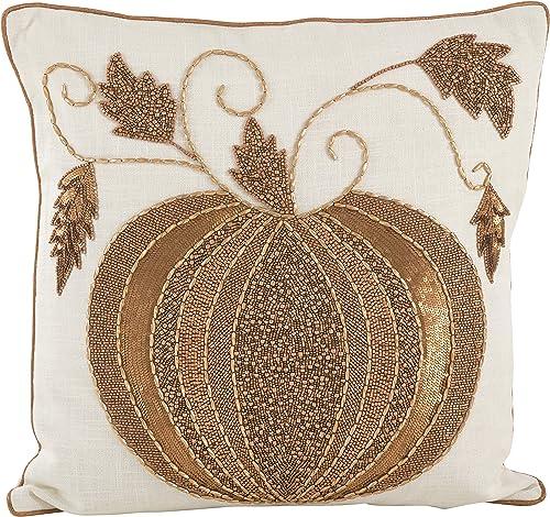 SARO LIFESTYLE Beaded Thanksgiving Pumpkin Design Cotton Down Filled Throw Pillow, 18 , Ivory