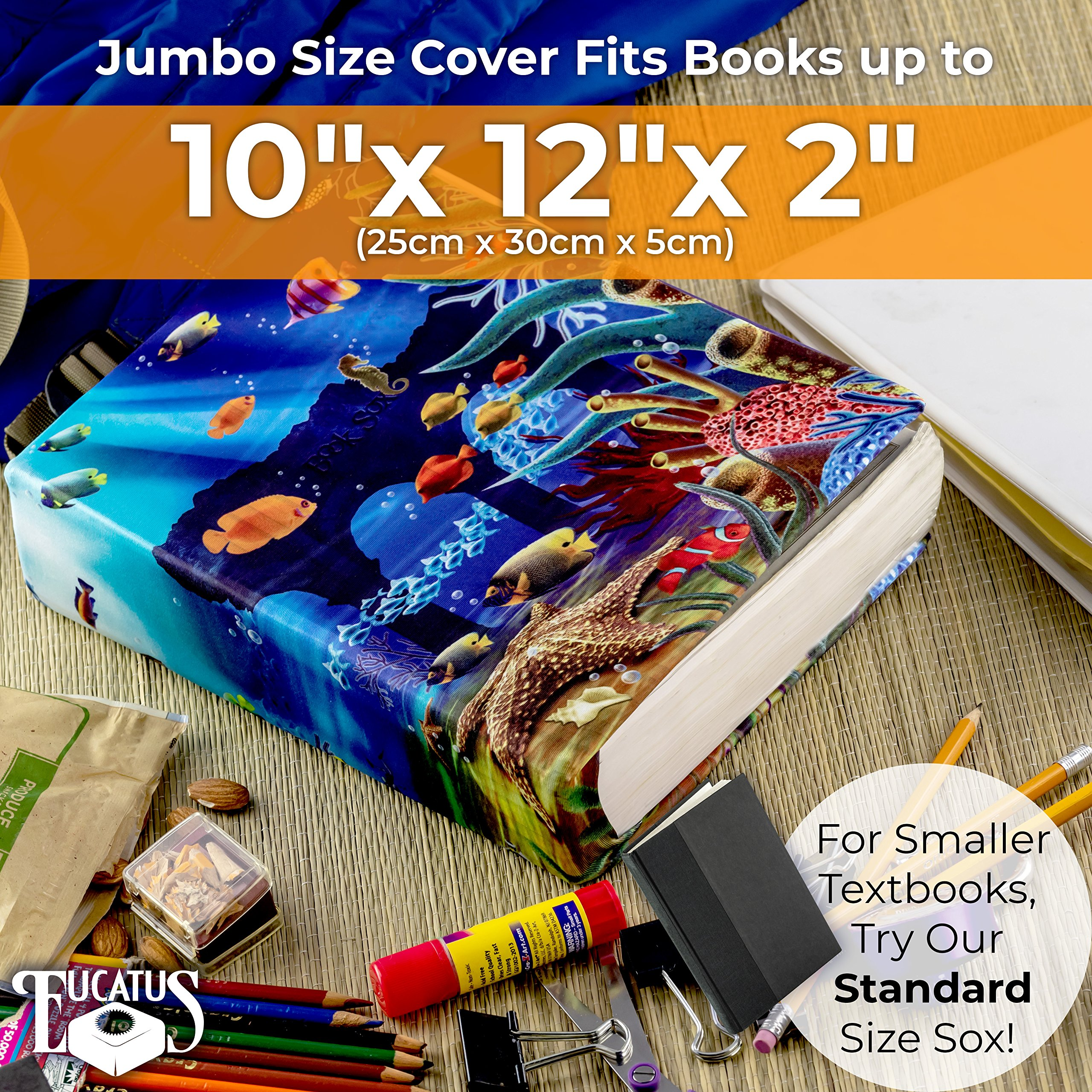 Jumbo, Stretchable Book Cover Geometric Shape 3 Pack. Fits Most Hardcover Textbooks Up to 9 x 11. Adhesive-Free, Nylon Fabric Protectors Are A Needed School Supply For Students Washable and Reusable by Eucatus (Image #7)