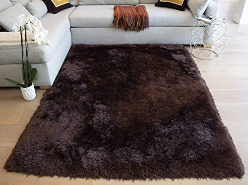 Solid 8×10 Feet Two Tone Brown Color Shag Shaggy Decorative Designer Area Rug Carpet Rug Bedroom Living Room Modern Contemporary Hand Woven Fluffy Fuzzy Furry Polyester Made Canvas Backing Hand Woven