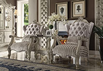 Amazon.com: ACME Versailles Chair with 1 Pillow in Ivory ...