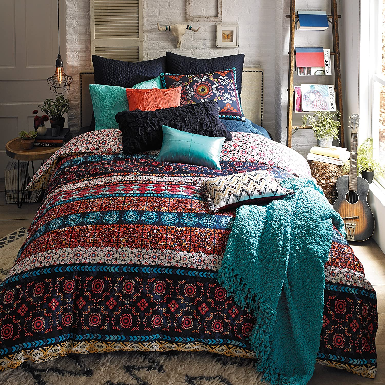 amazoncom blissliving home beddquemul madero inch by   - amazoncom blissliving home beddquemul madero inch by inch piece queen duvet set multi home  kitchen