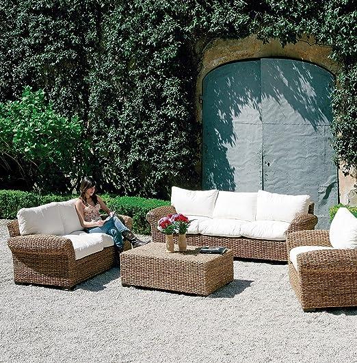 HOMEGARDEN sofá de Fibra natuarale de Muebles jardín Exterior 3 plazas: Amazon.es: Hogar