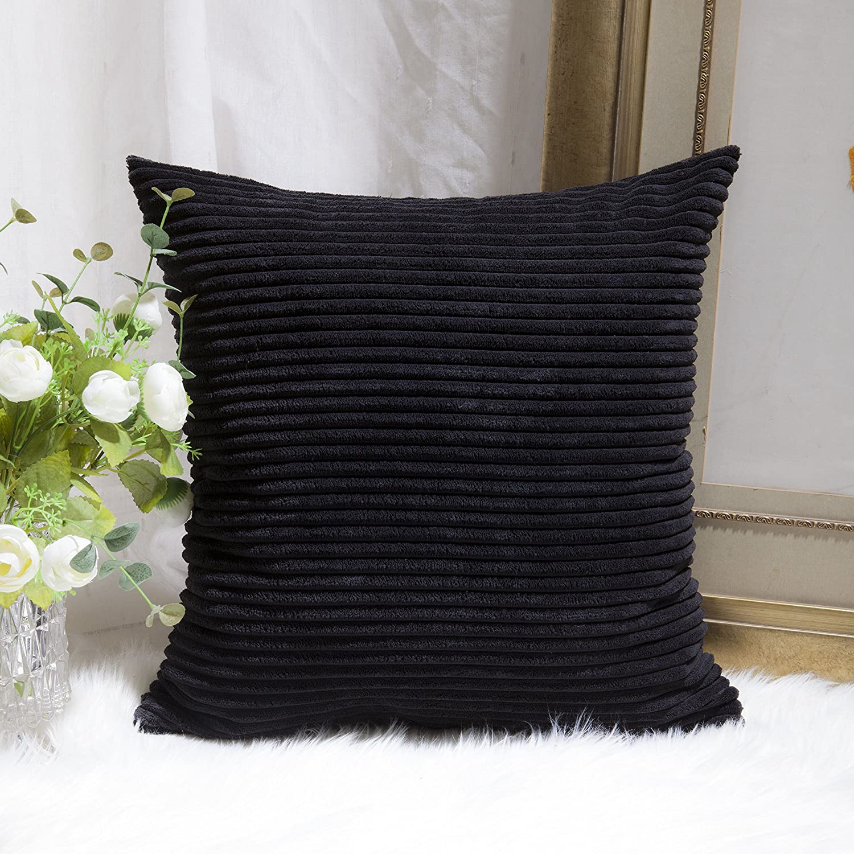 Home Brilliant Super Soft Stripe Corduroy Decor Decorative Euro Throw Pillow Sham Cushion Cover for Sofa, 26 inches, Jet Black