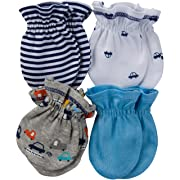 Gerber Baby Boys 4 Pack Mittens, Cars, 0-3 Months